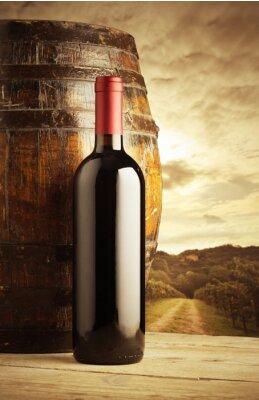 Affisch rött vin flaska