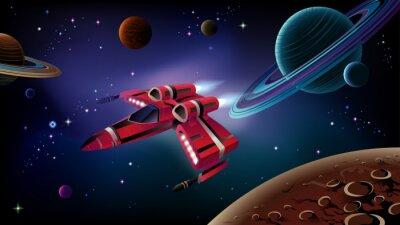 Affisch Rymdskepp, planeter och rymden.
