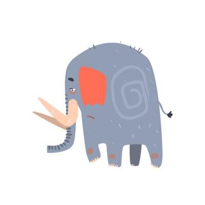 Affisch Sad Blue Elephant Walking