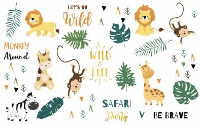 Affisch Safari object set with monkey,giraffe,zebra,lion,leaves. illustration for logo,sticker,postcard,birthday invitation.Editable element