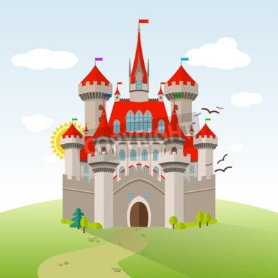 Affisch Saga slott. Vector Imagination Child Illustration. Plattform med gröna träd, gräs, stig, stenar och moln