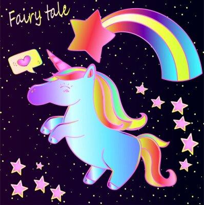 Affisch Sagan - söt neon enhörning och regnbåge med hjärtan och stjärnor på en mörk gradientbakgrund