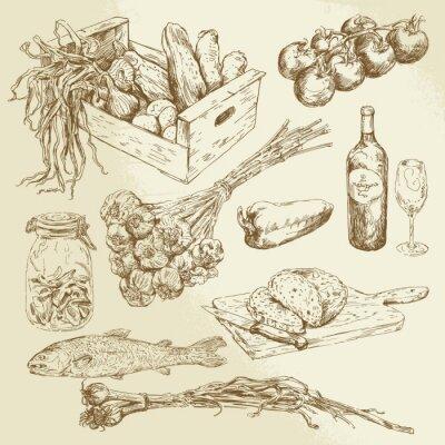 Affisch samling livsmedel