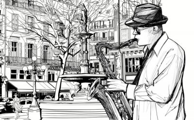 Affisch saxofonist i en gata i Paris