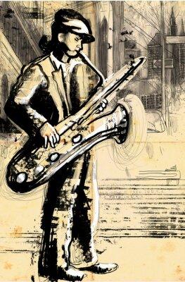 Affisch saxofonisten (fullstor handen ritning - original)