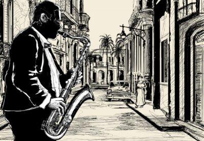 Affisch saxofonisten i en gata i Kuba