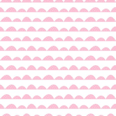 Affisch Scandinavian seamless rosa mönster i handritad stil. Stiliserade hill rader. Wave enkelt mönster för tyg, textil och barn linne.