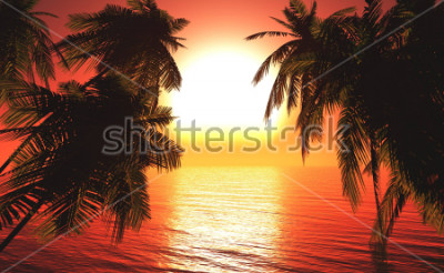 Affisch sea sunset among the palm trees, the sun over the water in the palm trees,3D rendering