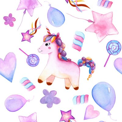 Affisch seamless design. unicorn. Balloons. candy on a stick. marshmallows. flower. magic wand star. watercolor. happy Birthday