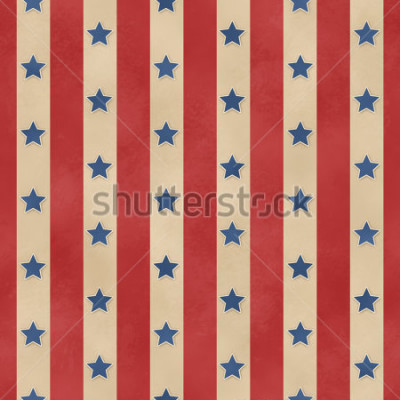 Affisch Seamless Faded Stars & Stripes Pattern