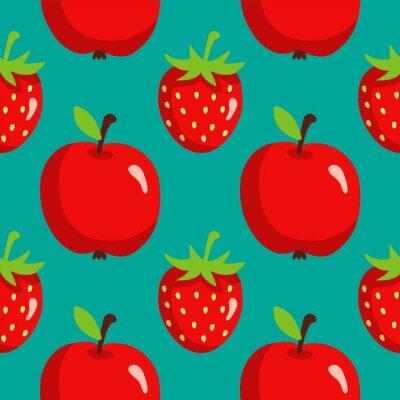 Affisch Seamless jordgubbar och äpplen