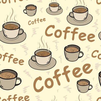 Affisch Seamless kaffe med ånga