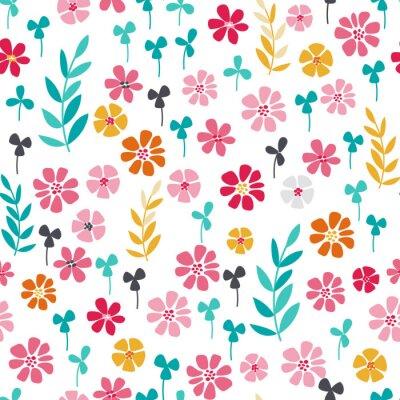 Affisch Seamless ljusa skandinaviska blommiga mönster