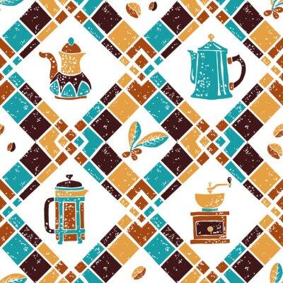 Affisch Seamless mönster Argyle och Kaffebryggare