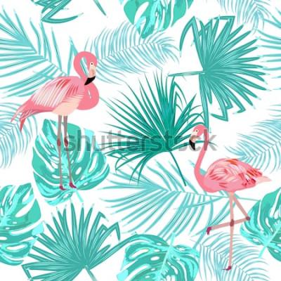 Affisch Seamless mönster av flamingo, lämnar monstera. Tropiska blad av palmträdet och blommor. Vektor bakgrund.