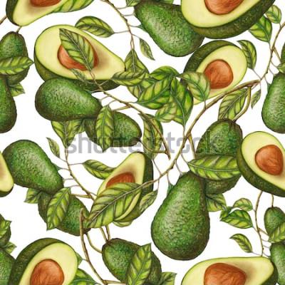 Affisch Seamless mönster av handritad avokado