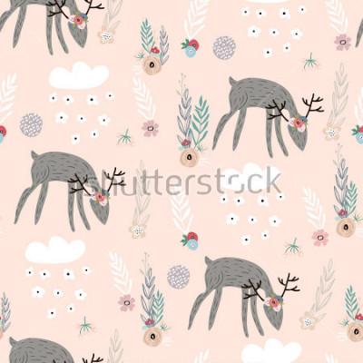 Affisch Seamless mönster med hjortar, blommiga element, grenar. Kreativ skogsmark bakgrund. Perfekt för barnkläder, tyg, textilier, plantskola, inslagspapper. Vektillustration