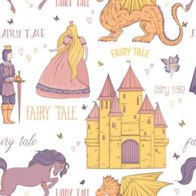 Affisch Seamless mönster med prins, prinsessa, slott, drake, fe, häst. Saga tema. Isolerade föremål. Vintage vektor illustration