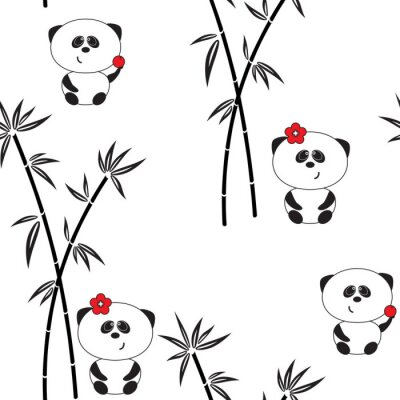 Affisch Seamless mönster, vektor illustration, rolig panda