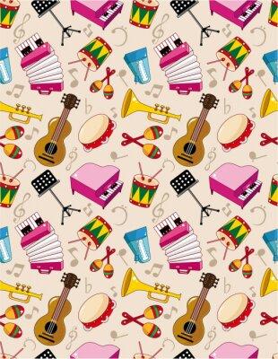 Affisch seamless musik mönster