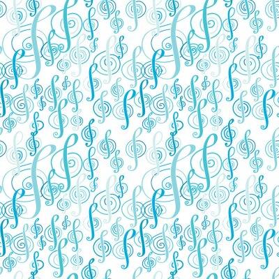 Affisch Seamless musik mönster med en G-klav.