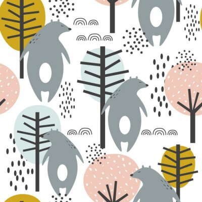 Affisch Seamless pattern, bears and trees, hand drawn overlapping backdrop. Colorful background vector. Illustration with animals. Decorative wallpaper, good for printing