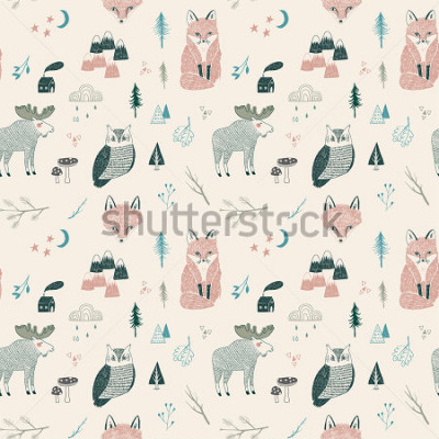 Affisch seamless pattern of woodland animals, trees, mountains