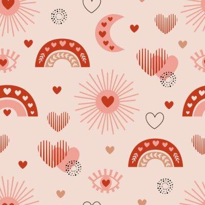 Affisch seamless pattern with love boho sun, rainbow, moon