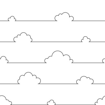 Affisch Seamless pattern with simple cartoon clouds in continuous line art drawing style. Black linear design on white background. Vector illustration