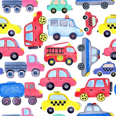 Affisch Seamless pattern with watercolor cartoon cars and spare parts. Design of children's clothing, wallpaper, packaging, background, wall