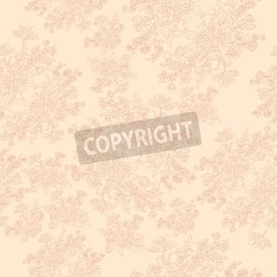 Affisch seamless retro mönster med rokoko blommor, shabby chic motiv
