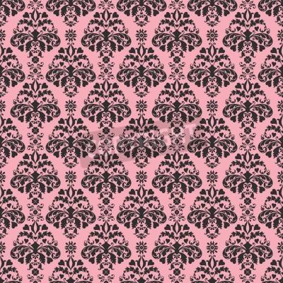 Affisch Seamless rosa damast