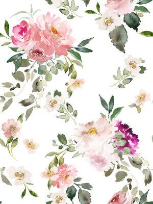 Affisch Seamless summer pattern with watercolor flowers handmade.
