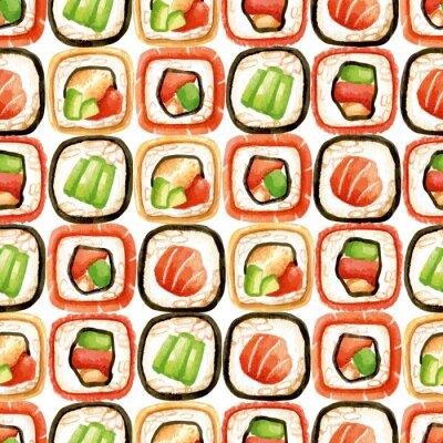 Affisch Seamless sushi rullar