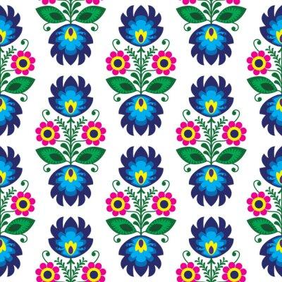 Affisch Seamless traditionell blommig polska mönster - etnisk bakgrund