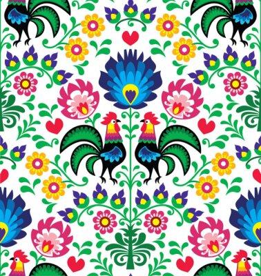 Affisch Seamless traditionella blom- polska mönster - Wzory Łowickie