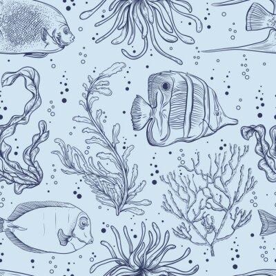 Affisch Seamless tropiska fiskar, marina växter och alger. Vintage handritad vektor illustration marint liv. Design för sommar strand, dekorationer, tryck, mönsterfyllning, banytan bakgrund