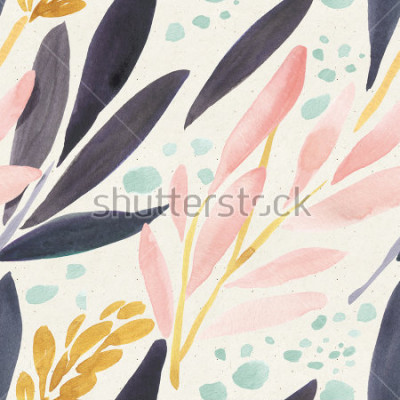 Affisch Seamless vattenfärgmönster på pappersstruktur. Blom bakgrund