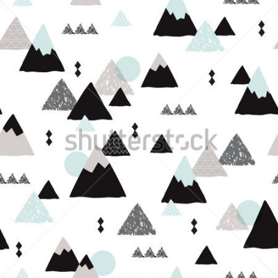 Affisch Seamless winter wonderland geometric japanese fuji mountain theme illustration triangle abstract landscape background pattern in vector