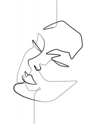 Affisch Serene Female Face One Single Continuous Line Vector Graphic Illustration