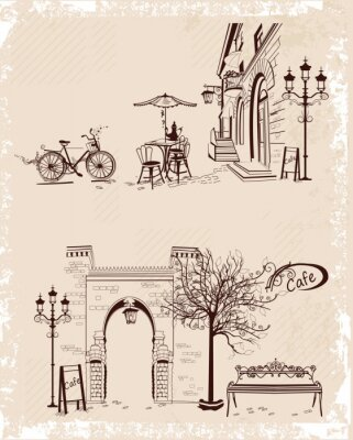Affisch Serie av bakgrunder dekorerade med gamla stan vyer och gatan kaféer.