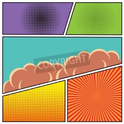 Affisch Serier popkonststil tom layout mall med moln balkar och prickar mönster bakgrund vektor illustration