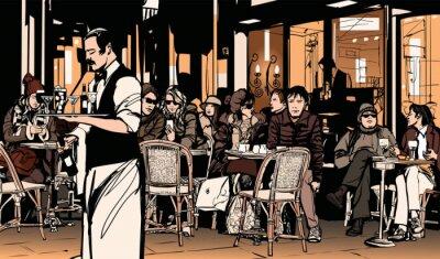 Affisch Servitör som betjänar kunder vid traditionell utomhus parisisk cafe