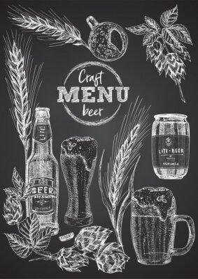 Affisch Set hand drawn sketch bottle and glasses beer, hop, wheat Vintage design bar, restaurant, cafe menu on on black chalk board background. Graphic vector art Template for flyer, banner, poster