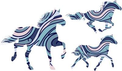 Affisch Set med tre blå mönstrade silhuetter av rinnande hästar