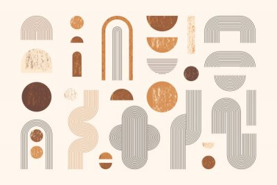 Affisch Set of Abstract Geometric Shapes with Line and Strips. Vector Elements for Web Design, Banner, Poster, Cover and Social Media Post. Collection Contemporary Minimalist Illustrations.