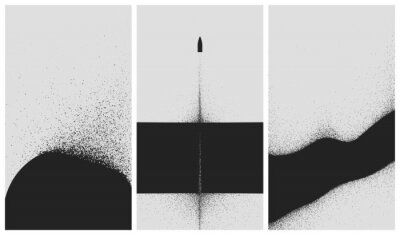 Affisch Set of black and white backgrounds with dust explosion and particle spraying