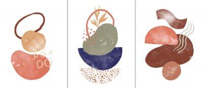 Affisch Set of digital art illustrations, contemporary minimalist abstract modern