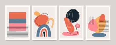 Affisch Set of minimalistic geometric art posters with elements of geometric shapes and lines. Modern contemporary creative trendy abstract templates vector illustration.