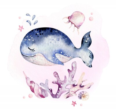 Affisch Set of sea animals. Blue watercolor ocean fish, turtle, whale and coral. Shell aquarium background. Nautical marine hand painted illustration.